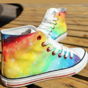 Hand-painted rainbow gradient Haraj..