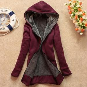 Plus velvet long-sleeved hooded swe..