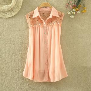 Wave edge chiffon lace shirt AECHCB