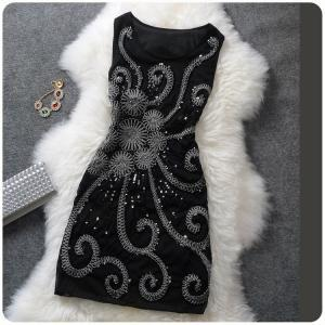 Temperament Slim sequined sleeveles..