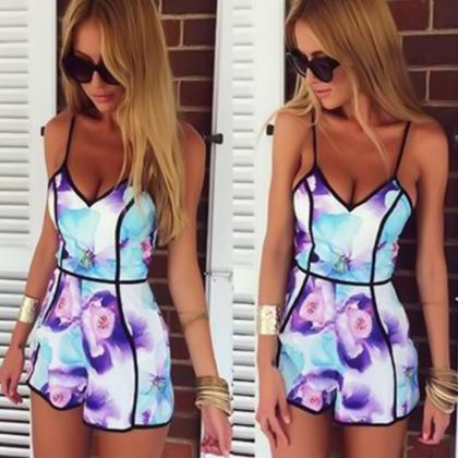 Sexy v-neck printing jumpsuits HAY2..