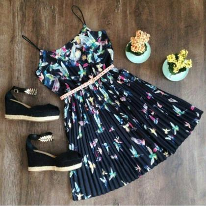 Fashion Sleeveless Sling print dres..
