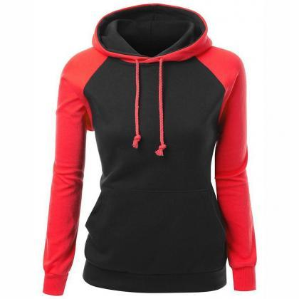 Fashion sexy stitching hooded sweat..
