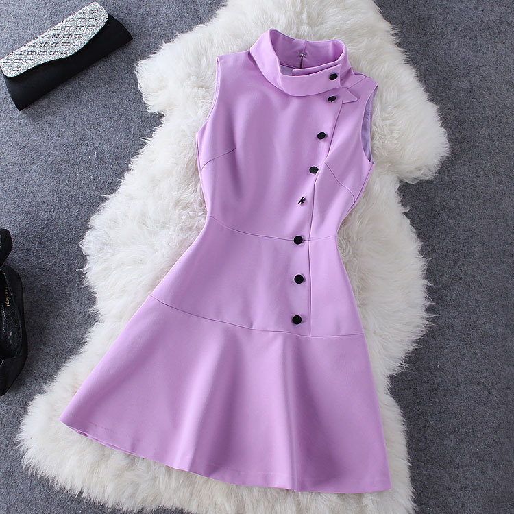 Fashion purple sleeveless dress GV823EJ
