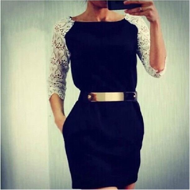Round neck black lace dress UU1228BF