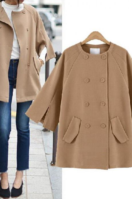 Loose bat sleeve woolen coat 5162087