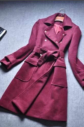 Long-sleeved lapel dark red coat 8100694