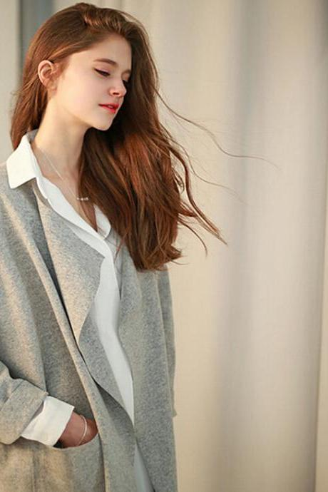 Fashion lapel loose cardigan 3775140