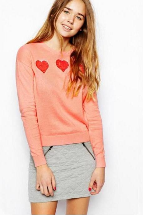 Fashion Peach Heart knit sweater 7150569