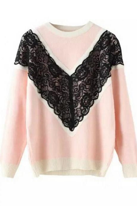 Fashion lace stitching round neck knit sweater 9251871