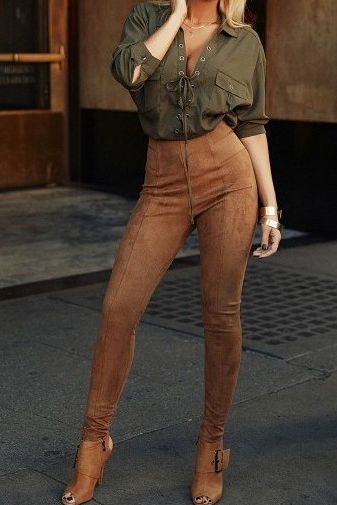 Solid color pants high waist trousers fashion tight trousers 6332811