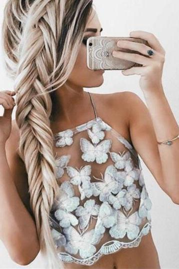Butterfly Embroidered Mesh Halter Neck Crop Top