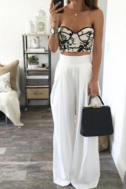HIGH WAIST LOOSE WHITE TROUSERS 4933261