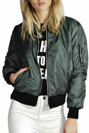 SOLID COLOR FASHION ZIPPER JACKET CJ63274