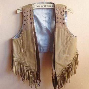 PU gradient retro fringed denim vest AECHBH